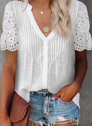 Solid Summer V-Neckline Short Sleeve Blouses (147928201)