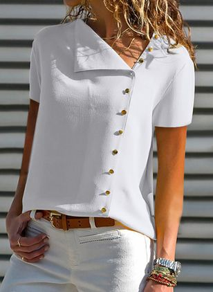 Solid Casual Oblique Neckline Short Sleeve Blouses