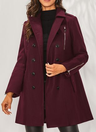 Long Sleeve Collar Buttons Coats Jackets (1396680)