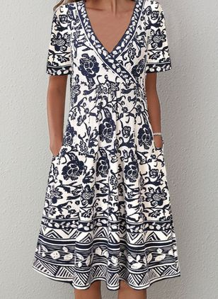 Casual Floral V-Neckline Knee-Length X-line Dress (110711636)