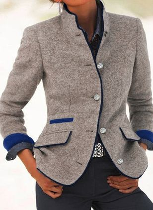 Long Sleeve Stand Collar Buttons Blazers Coats (146913110)