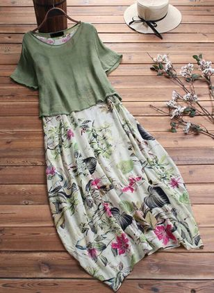 Plus Size Floral Boat Neckline Casual Midi A-line Dress Plus Dress