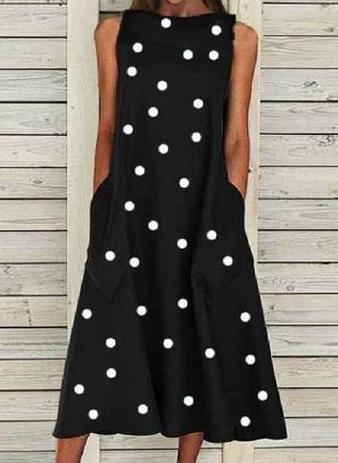 Casual Polka Dot Tunic Round Neckline Shift Dress (128228058)