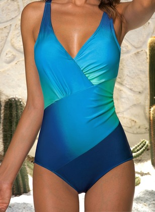Plus Size Polyester Color Block Ruffles One-piece Swimwear (1350730)