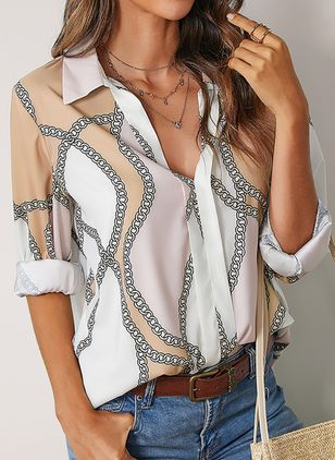Character Casual Collar Long Sleeve Blouses (106587902)