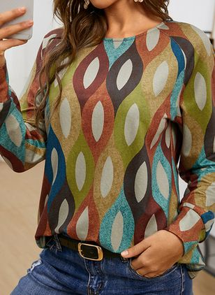 Color Block Casual Round Neckline Long Sleeve Blouses (146931676)