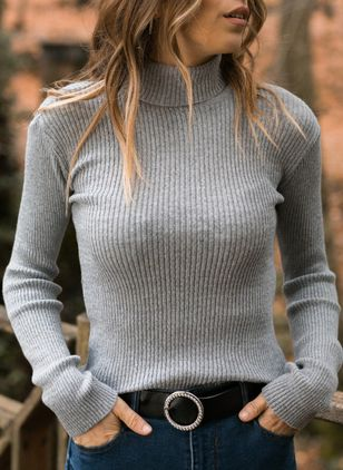 High Neckline Solid Elegant Tight Regular Sweaters (1353805)