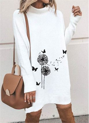 Casual Floral Shirt High Neckline Shift Dress