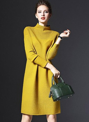 Casual Solid Others High Neckline Shift Dress