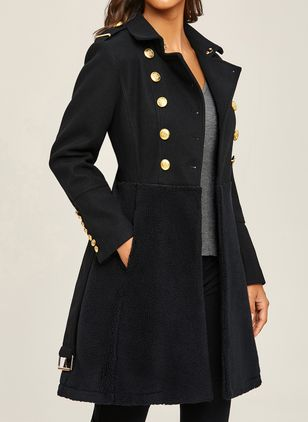 Long Sleeve V-neck Buttons Pockets Coats