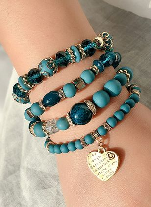 Casual Ball Heart Gemstone Beaded Bracelets (1536848)