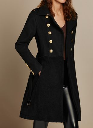 Long Sleeve V-neck Buttons Pockets Coats (1373722)