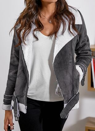 Long Sleeve Lapel Zipper Jackets (4040309)