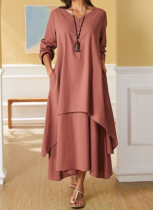 Plus Size Casual Solid Tunic V-Neckline A-line Dress (4209293)