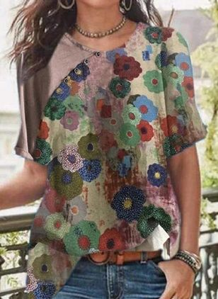 Floral Casual Round Neckline Short Sleeve Blouses (110711606)