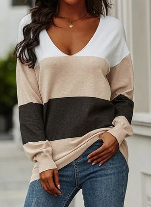 V-Neckline Stripe Casual Loose Regular Shift Sweaters (110711682)