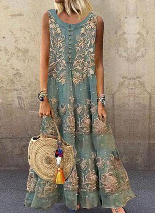 Casual Floral Round Neckline Maxi Shift Dress (1609973)
