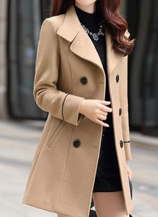 Long Sleeve Collar Buttons Trench Coats (146785274)