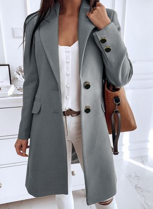 Long Sleeve Buttons Trench Coats (118207703)