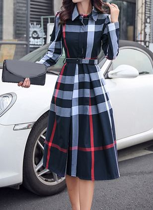 Elegant Plaid Sashes Shirt X-line Dress (1379909)