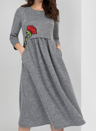 Casual Floral Tunic V-Neckline Shift Dress (128228095)