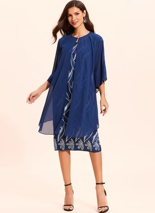 Plus Size Tunic Floral Round Neckline Elegant Wrap Plus Dress