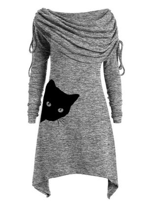 Casual Animal Tunic Round Neckline A-line Dress