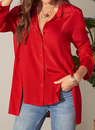 Solid Casual Collar Long Sleeve Blouses (1437840)