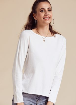 Boat Neckline Solid Casual Loose Regular Shift Sweaters (100547021)