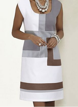 Casual Color Block Tunic Square Neckline Shift Dress (101988134)
