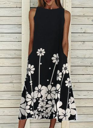 Casual Floral Boat Neckline Midi X-line Dress
