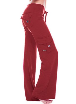 Casual Bootcut Buttons Pockets Mid Waist Polyester Pants (146780857)