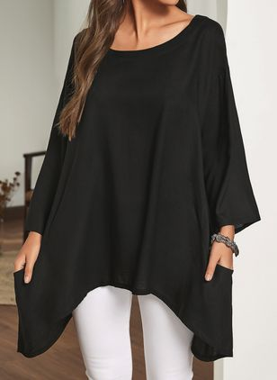 Plus Size Solid Casual Round Neckline Half Sleeve Blouses (106587923)