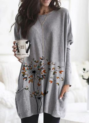 Floral Round Neck Long Sleeve Casual T-shirts