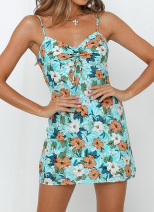 Casual Floral Shirt Camisole Neckline A-line Dress (5121683)