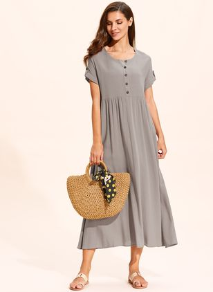 Casual Solid Buttons Tunic Shift Dress (1537071)