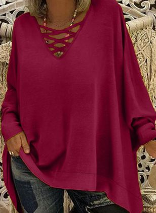 Plus Size Solid Casual V-Neckline Long Sleeve Blouses (100546904)