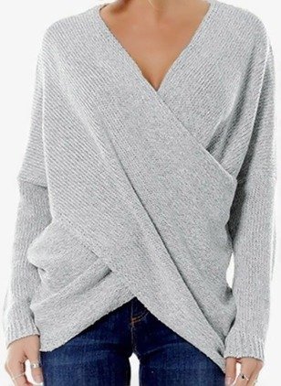 V-Neckline Solid Casual Asymmetrical Shift Sweaters (1363349)