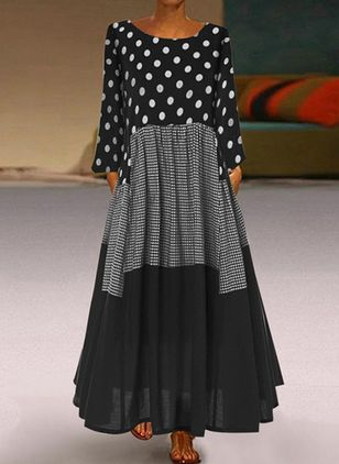 Casual Polka Dot Round Neckline Maxi A-line Dress