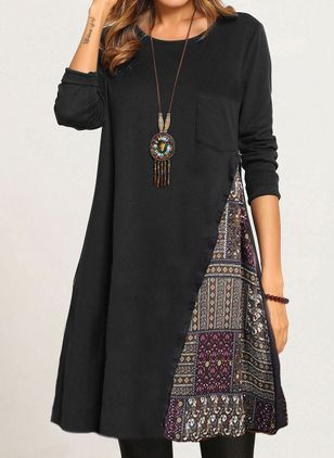 Casual Geometric Round Neckline Midi A-line Dress