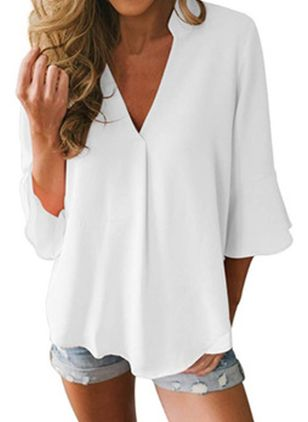 Plus Size Solid Casual V-Neckline 3/4 Sleeves Blouses (4209364)