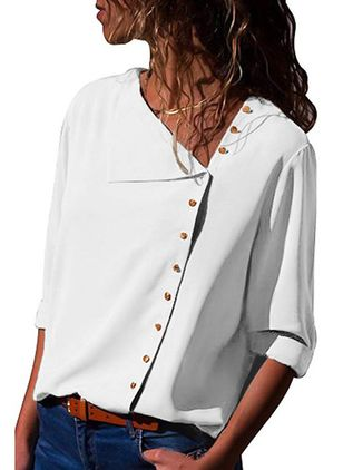Solid Casual V-Neckline 3/4 Sleeves Blouses (1352544)