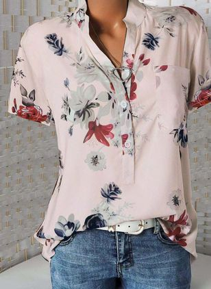 Floral Casual Stand Collar Short Sleeve Blouses (110711550)