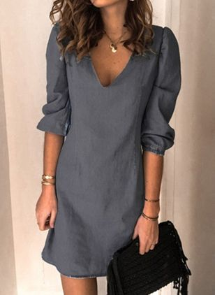 Casual Solid Tunic V-Neckline Shift Dress (118207688)