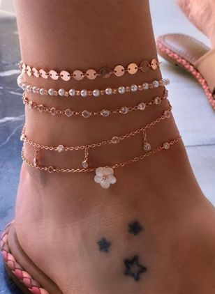 Casual Floral Round Anklet (147220975)