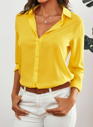 Solid Casual Collar Long Sleeve Blouses (1537383)