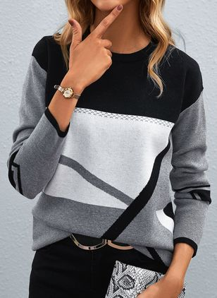 Round Neckline Color Block Casual Loose Regular Shift Sweaters (146908733)
