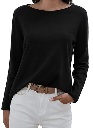 Boat Neckline Solid Casual Loose Regular Shift Sweaters (1353707)