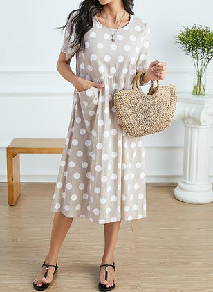 Casual Polka Dot Tunic Round Neckline Shift Dress (1537009)