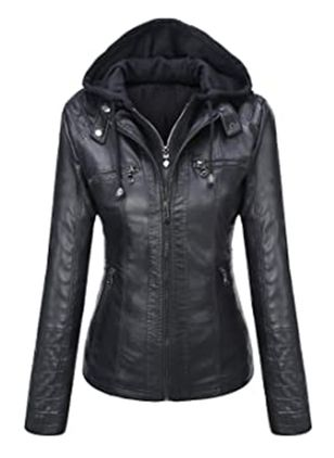 Long Sleeve Hooded Zipper Pockets Leather Coats (146785365)